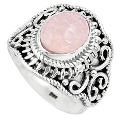 4.55cts natural pink morganite 925 silver solitaire ring jewelry size 7 p81215