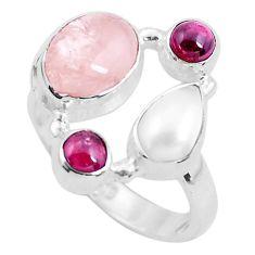 6.74cts natural pink morganite garnet 925 sterling silver ring size 7 p52702