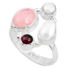 6.31cts natural pink morganite garnet 925 sterling silver ring size 7 p52703