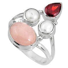 8.21cts natural pink morganite garnet pearl 925 silver ring size 8 p90733