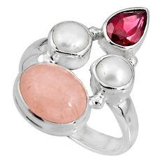 7.53cts natural pink morganite garnet pearl 925 silver ring size 7 p90736