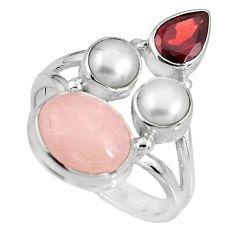8.83cts natural pink morganite garnet pearl 925 silver ring size 8 p90739