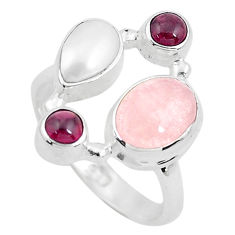 6.74cts natural pink morganite red garnet 925 sterling silver ring size 7 p52708