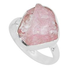 7.17cts natural pink morganite rough 925 silver solitaire ring size 7 p68945