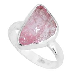 6.45cts natural pink morganite rough 925 silver solitaire ring size 8 p68955