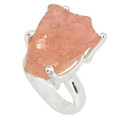 22.02cts natural pink morganite rough 925 silver solitaire ring size 5.5 p79642