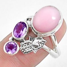 7.78cts natural pink opal 925 silver hand of god hamsa ring size 8.5 p42678