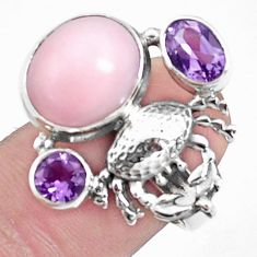 8.70cts natural pink opal 925 silver scorpion charm ring size 7.5 p42664