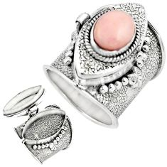 4.41cts natural pink opal 925 sterling silver poison box ring size 7.5 p75572