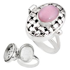 4.10cts natural pink opal 925 sterling silver poison box ring size 9 p92849