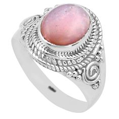 4.38cts natural pink opal 925 sterling silver solitaire ring size 8.5 p81242