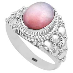 4.33cts natural pink opal 925 sterling silver solitaire ring size 8.5 p81243