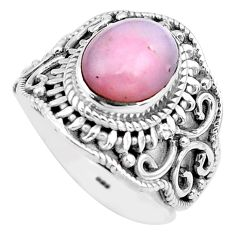 4.70cts natural pink opal 925 sterling silver solitaire ring size 7.5 p81246