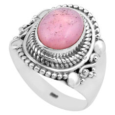 4.01cts natural pink opal 925 sterling silver solitaire ring size 8.5 p81258
