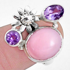 7.36cts natural pink opal amethyst 925 sterling silver flower ring size 7 p42670
