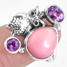 8.27cts natural pink opal amethyst 925 sterling silver owl ring size 9.5 p42661