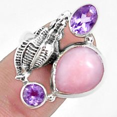8.44cts natural pink opal amethyst 925 sterling silver ring size 7 p42674