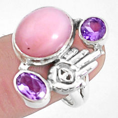 7.76cts natural pink opal amethyst silver hand of god hamsa ring size 9 p42662