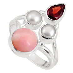 6.84cts natural pink opal garnet 925 sterling silver ring jewelry size 8 p90838
