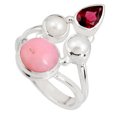 6.54cts natural pink opal garnet pearl 925 sterling silver ring size 7.5 p90831