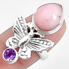 6.57cts natural pink opal pear 925 silver scorpion charm ring size 6.5 p42669