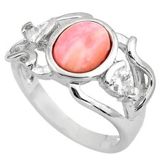 2.97cts natural pink opal topaz 925 sterling silver ring jewelry size 7 c4247