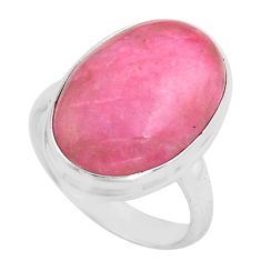 14.72cts natural pink petalite 925 silver solitaire ring jewelry size 7.5 p80659