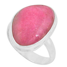 13.87cts natural pink petalite 925 silver solitaire ring jewelry size 8.5 p80739