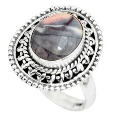 4.47cts natural pink porcelain jasper 925 silver solitaire ring size 8 p63376