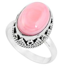 6.76cts natural pink queen conch shell 925 silver solitaire ring size 8.5 p56561