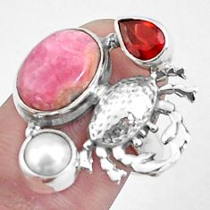 7.51cts natural pink rhodochrosite inca rose 925 silver crab ring size 7 p42776