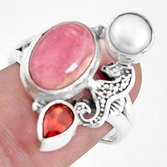 Natural pink rhodochrosite inca rose 925 silver seahorse ring size 8 p42763