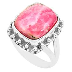 Natural pink rhodochrosite inca rose 925 silver solitaire ring size 6.5 p74270