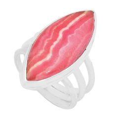 Natural pink rhodochrosite inca rose 925 silver solitaire ring size 7.5 p80676