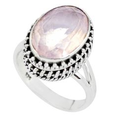 6.33cts natural pink rose quartz 925 silver solitaire ring jewelry size 7 p56642