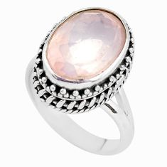 7.02cts natural pink rose quartz 925 silver solitaire ring jewelry size 7 p56653
