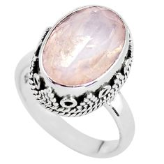 6.18cts natural pink rose quartz 925 silver solitaire ring jewelry size 7 p56655