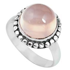 5.16cts natural pink rose quartz 925 silver solitaire ring jewelry size 8 p69865