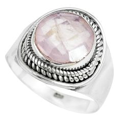 5.05cts natural pink rose quartz 925 silver solitaire ring jewelry size 8 p70205