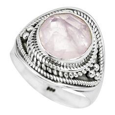 5.74cts natural pink rose quartz 925 silver solitaire ring jewelry size 8 p70208