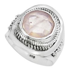 5.63cts natural pink rose quartz 925 silver solitaire ring jewelry size 7 p70216