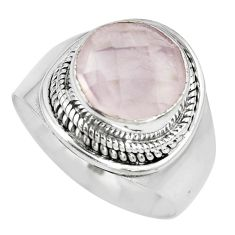 5.79cts natural pink rose quartz 925 silver solitaire ring jewelry size 8 p70217