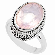 7.02cts natural pink rose quartz 925 silver solitaire ring size 7.5 p56645