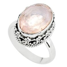 6.80cts natural pink rose quartz 925 silver solitaire ring size 7.5 p56658