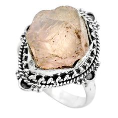 14.72cts natural pink rose quartz 925 silver solitaire ring size 8.5 p61680