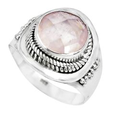 5.43cts natural pink rose quartz 925 silver solitaire ring size 8.5 p70209