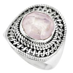 5.43cts natural pink rose quartz 925 silver solitaire ring size 8.5 p70219