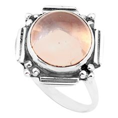 5.24cts natural pink rose quartz 925 silver solitaire ring size 7.5 p74205