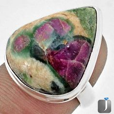 18.65cts NATURAL PINK RUBY IN FUCHSITE 925 STERLING SILVER RING SIZE 9 G53249