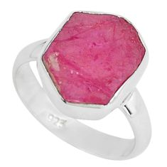 5.90cts natural pink ruby rough 925 silver solitaire ring jewelry size 6 p68939